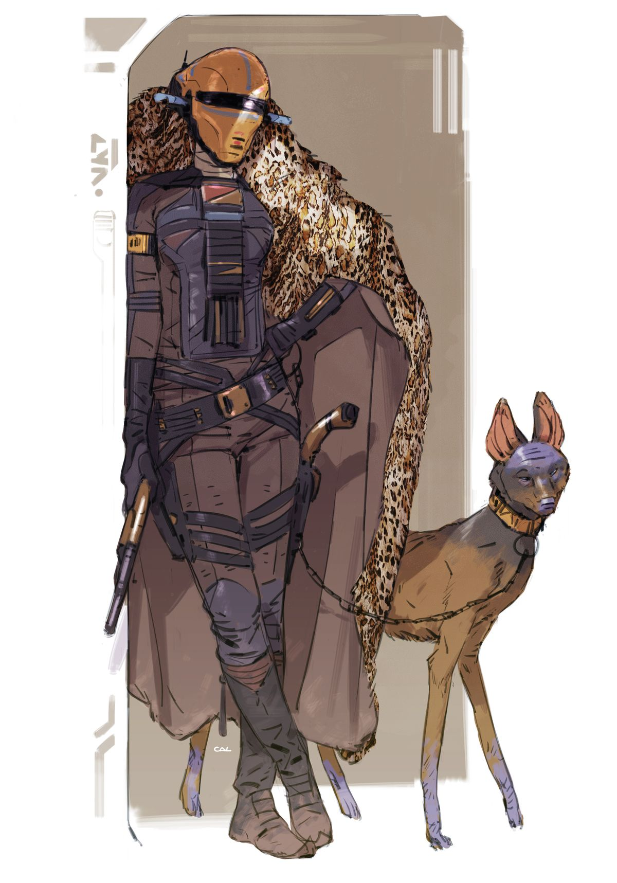 An early version of Zorii Bliss, standing with a leopard-print cape a a lithe, dog-like creature on a slim lead from Star Wars concept art