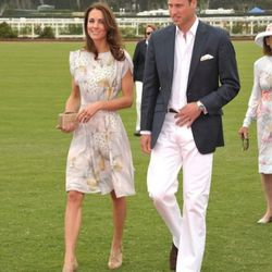 In a  hand-painted <b>Jenny Packham</b> silk dress at Polo