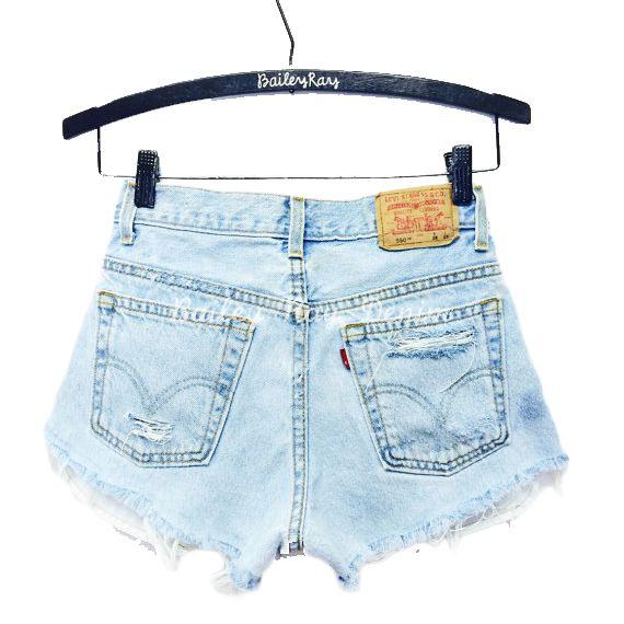 cut-off shorts on a hanger