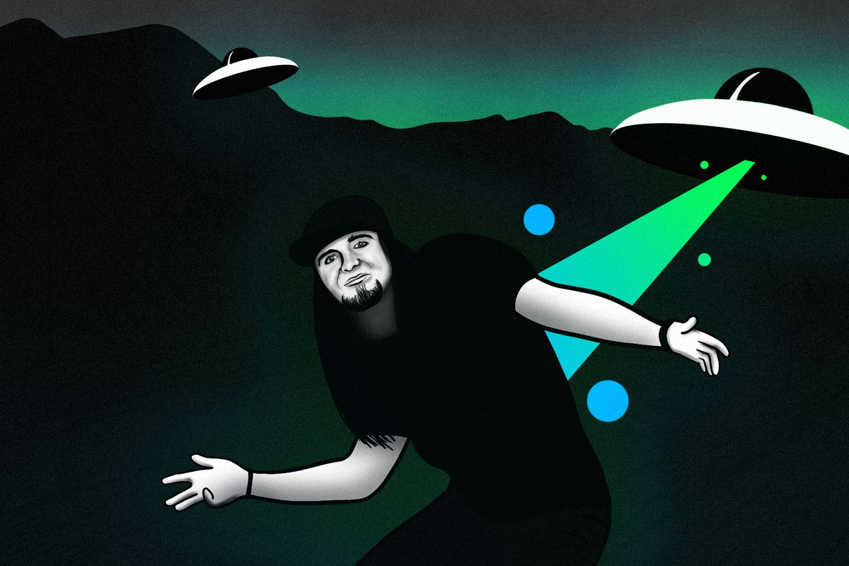 An illustration of Matty Roberts being zapped by a UFO.