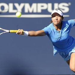 Zheng Jie, of China, is unable to reach an ace by Samantha Stosur, of Australia, during a quarterfinals match.