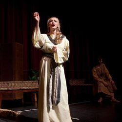 """Sara Allred as Nephi's wife Meira in the 2011 production of """"Nephi and the Sword of Laban."""" This summer, """"Nephi and the Sword of Laban"""" will run in Salt Lake City as an alternative to """"The Book of Mormon"""" Broadway musical."""