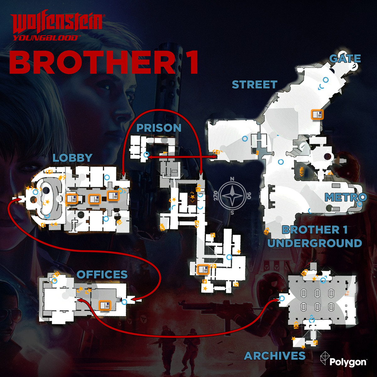 Wolfenstein: Youngblood Brother 1 map with Readable collectible locations