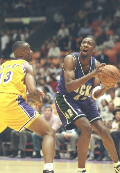 Vin Baker proved to be one of the dominant power forwards in the NBA in the 1990's (Courtesy of Elsa Hasch/All Sport)