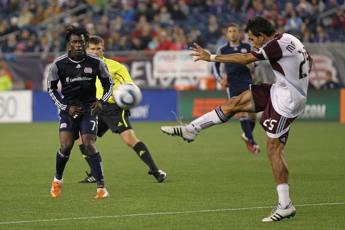 FOXBORO, MA - MAY 7:  Pablo Mastroeni of Colorado Rapids tries to pass to an open man against the New England Revolution at Gillette Stadium on May 7, 2011 in Foxboro, Massachusetts. (Photo by Jim Rogash/Getty Images)