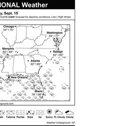 This is the Weather Underground forecast for Saturday, Sept. 15, 2012 for the southern region of the U.S.