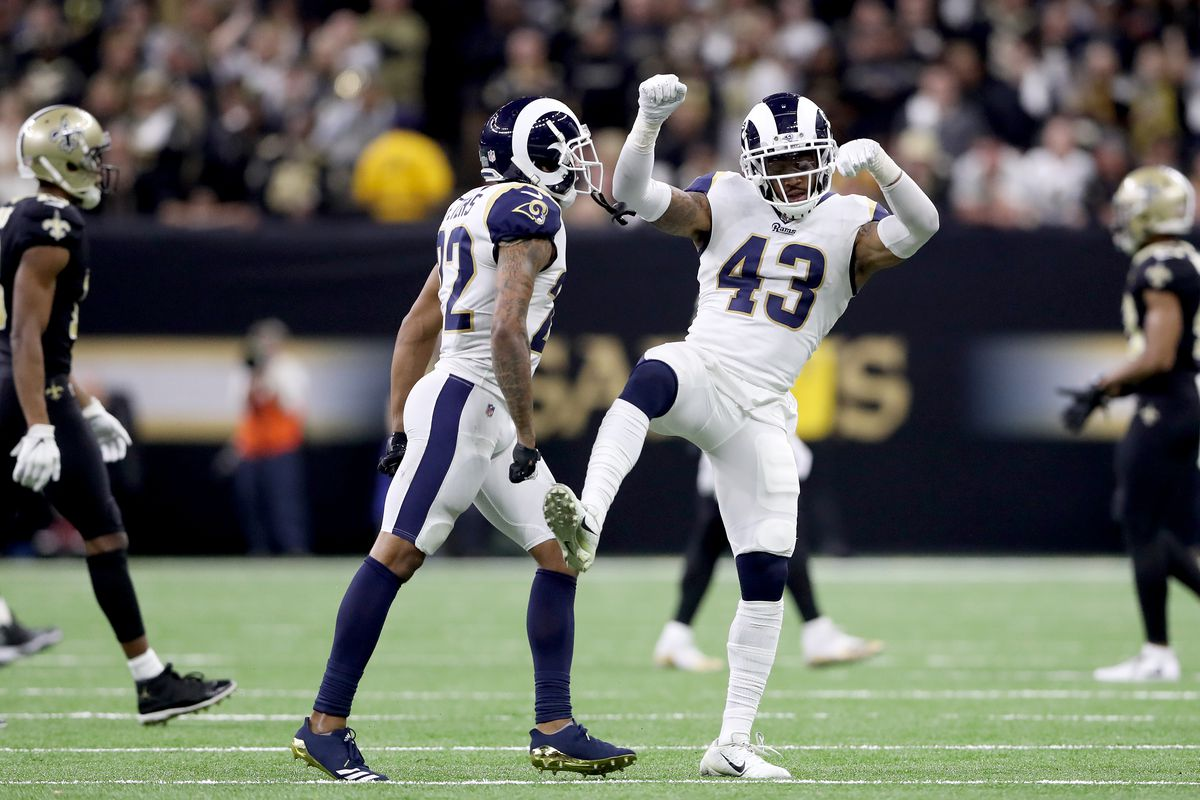 Los Angeles Rams S John Johnson celebrates after intercepting a pass from New Orleans Saints QB Drew Brees in the NFC Championship, Jan. 20, 2019.