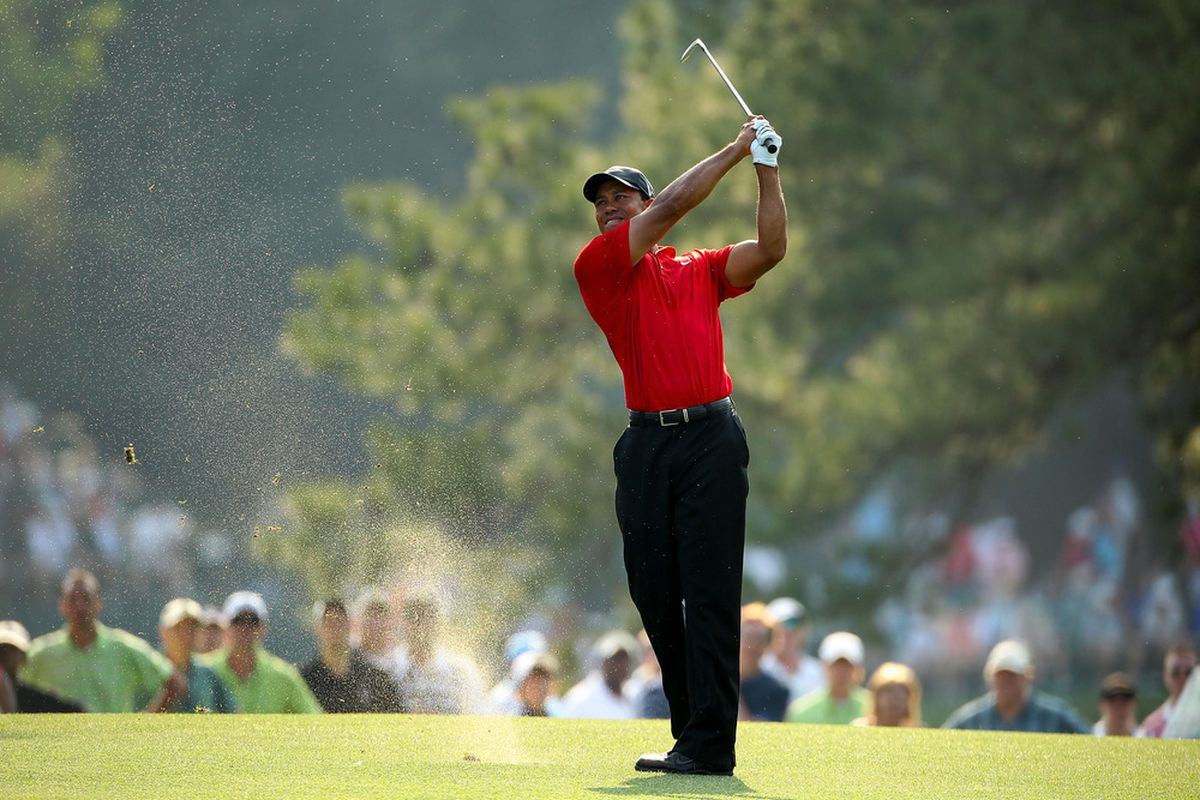 Tiger Woods hits a shot on the 17th hole during the final round of the 2011 Masters Tournament at Augusta National Golf Club on April 10, 2011 in Augusta, Georgia.  (Photo by Andrew Redington/Getty Images)