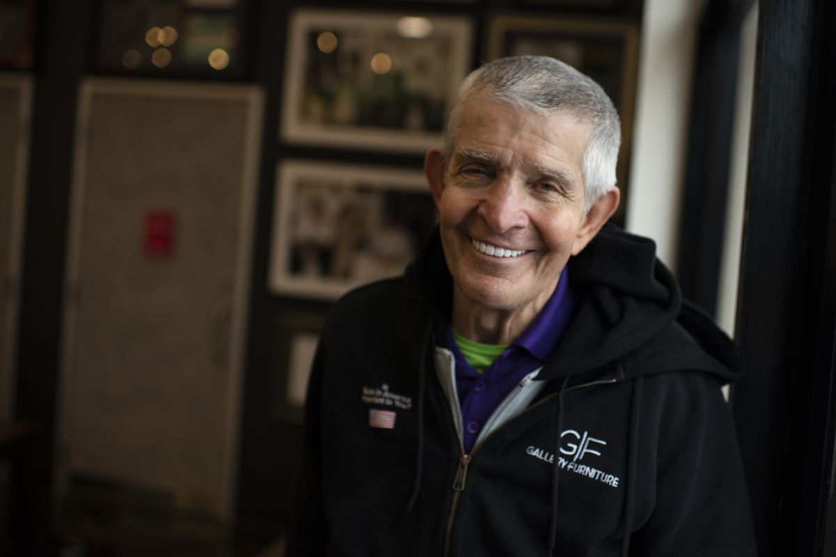 Houston business owner Jim Mattress Mack McIngvale poses for a portrait at his store Gallery Furniture in Houston, Texas on February 17, 2021.