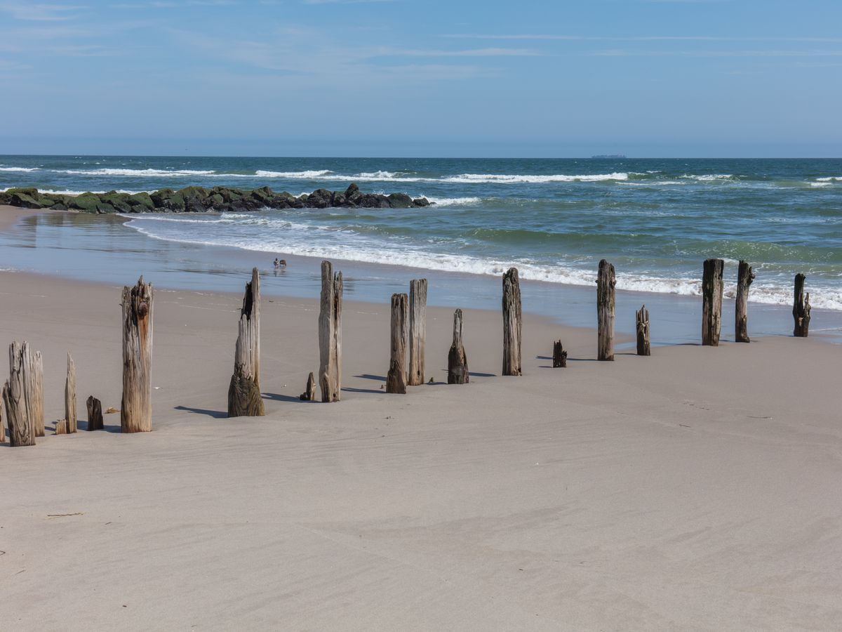 A sandy beach with a driftwood fence. In the distance is the ocean.