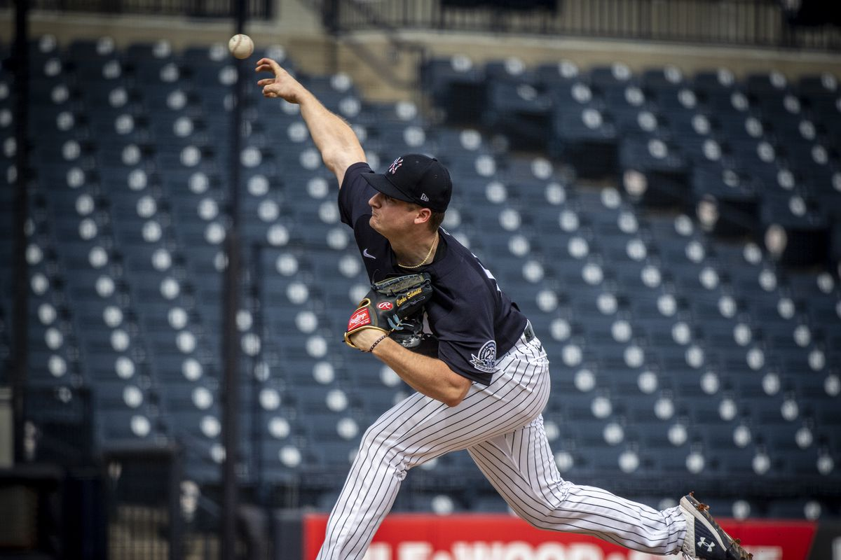 New York Yankees pitcher Clarke Schmidt throws to batters during spring training