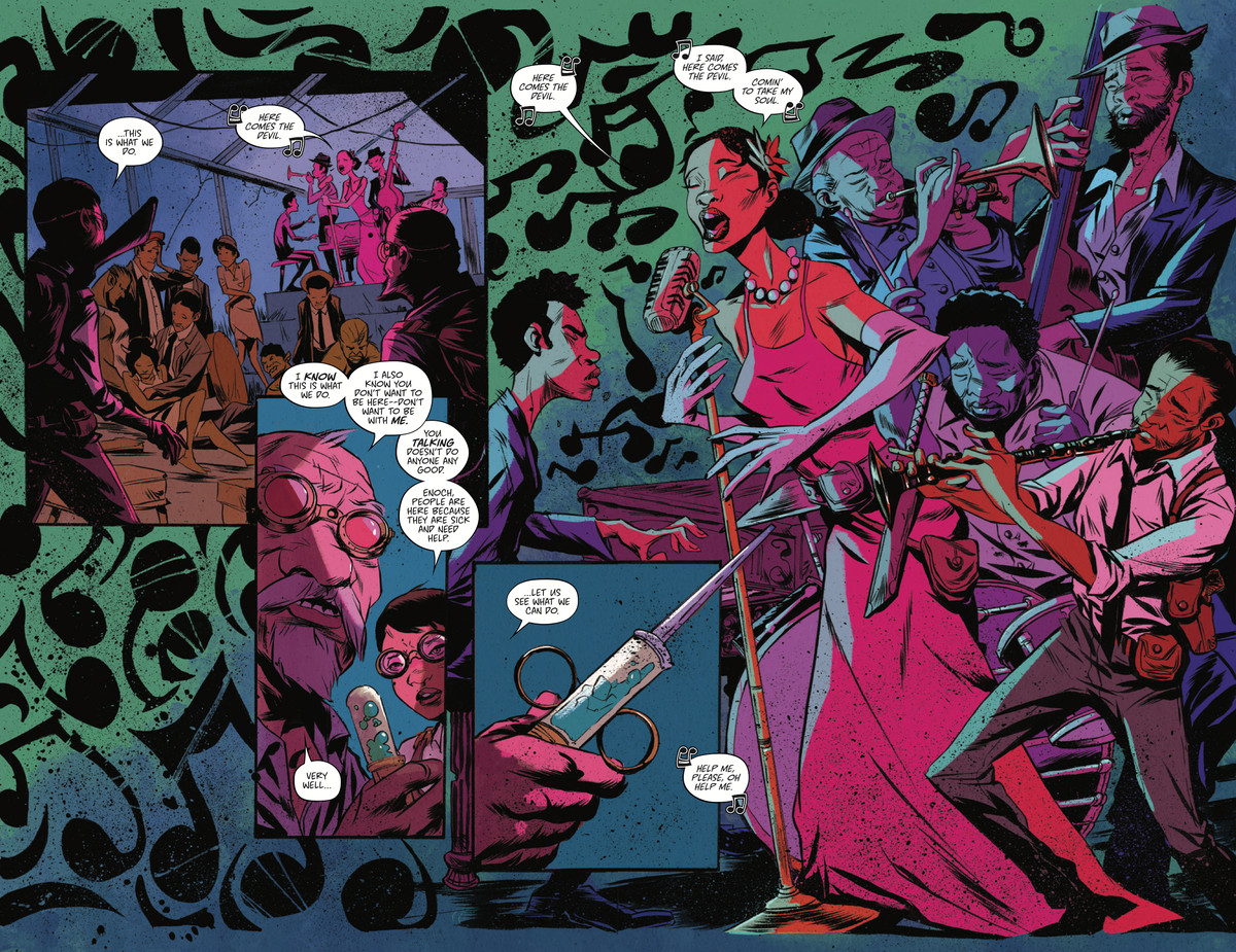 Blink and Enoch enter the Sweet PIckin' club to inoculate Harlem residents from succumbing to despair and turning into monstrous inzondo in Bitter Root #8, Image Comics (2020).