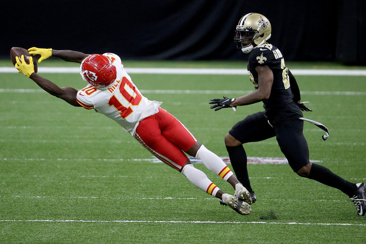 Tyreek Hill #10 of the Kansas City Chiefs catches a pass against the New Orleans Saints during the fourth quarter in the game at Mercedes-Benz Superdome on December 20, 2020 in New Orleans, Louisiana.