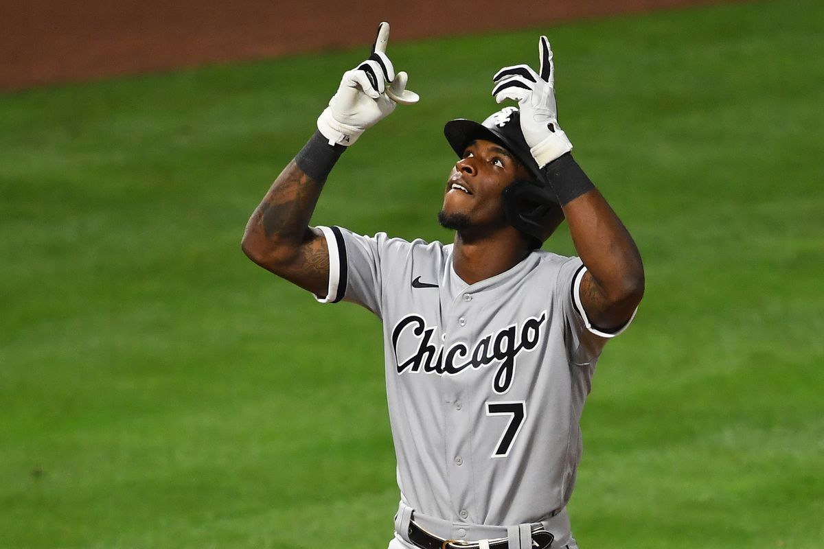 Chicago White Sox shortstop Tim Anderson crosses the plate after hitting a solo home run in the eighth inning of the game against the against the against the Los Angeles Angels at Angel Stadium.