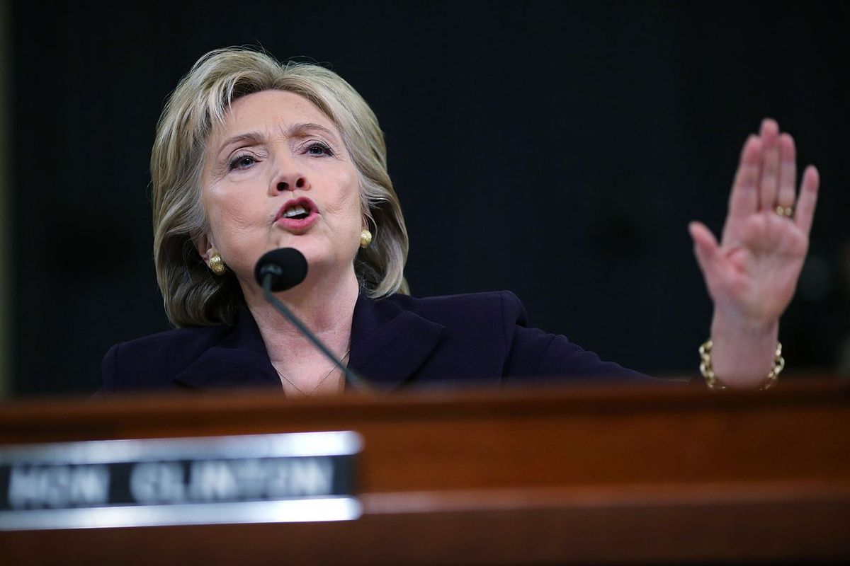 Hillary Clinton testifies about Benghazi in October 2015, on Capitol Hill in Washington, DC.
