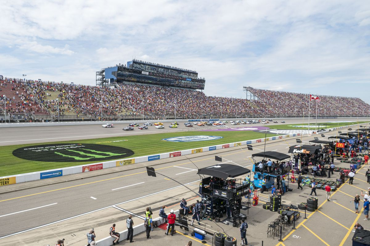 A general view of Michigan International Speedway during the Monster Energy NASCAR Cup Series - Consumers Energy 400 race on August 11, 2019 at Michigan International Speedway in Brooklyn, Michigan.