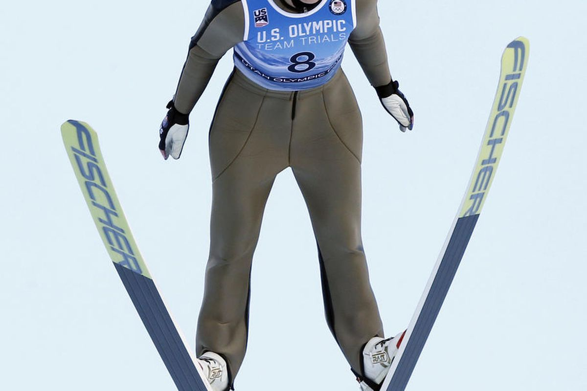 Abby Ringquist competes during the women's ski jumping event at the U.S. Olympic Team Trials, Sunday, Dec. 31, 2017, in Park City, Utah.