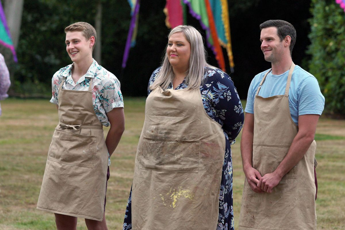 Peter, Laura, and Dave stand outside at the Great British Bake Off 2020 final