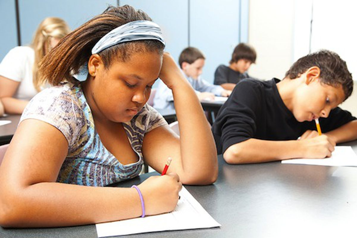 Students taking tests