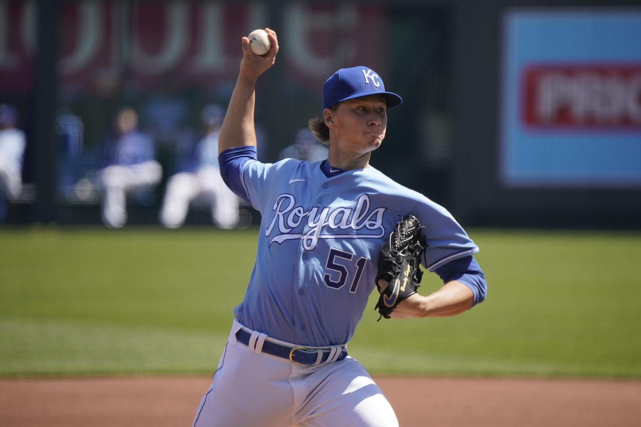 Starting pitcher Brady Singer #51 of the Kansas City Royals throws in the fist inning against the Texas Rangers at Kauffman Stadium on April 4, 2020 in Kansas City, Missouri.