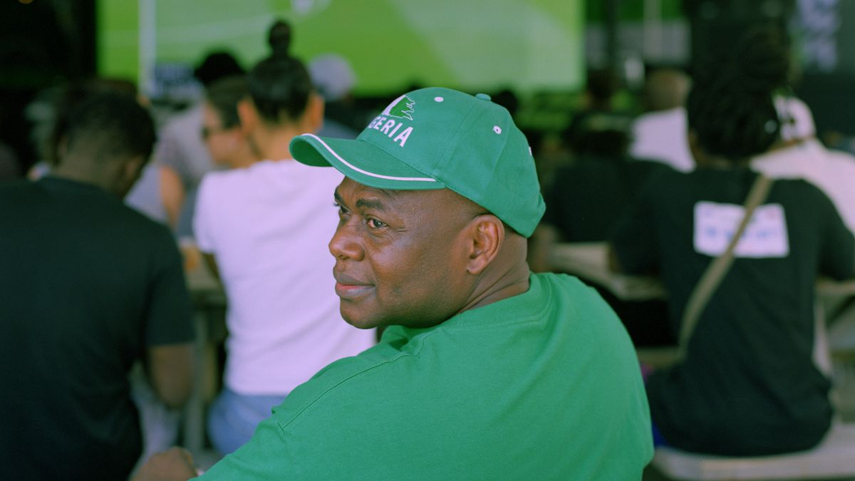 5223aae72ae77 A fan watching a friendly match between Nigeria and England at the Naija  Worldwide event, ahead of the 2018 World Cup.