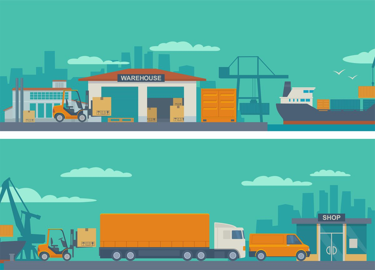Illustration of shipping, warehouse, trucking, and store
