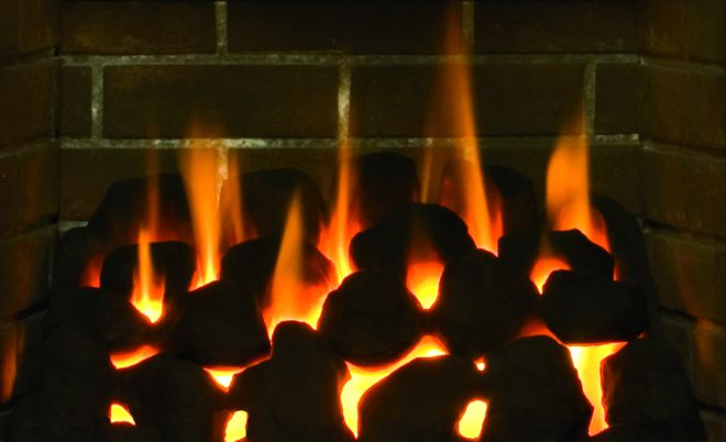 Gas Fireplace With Ceramic Coal