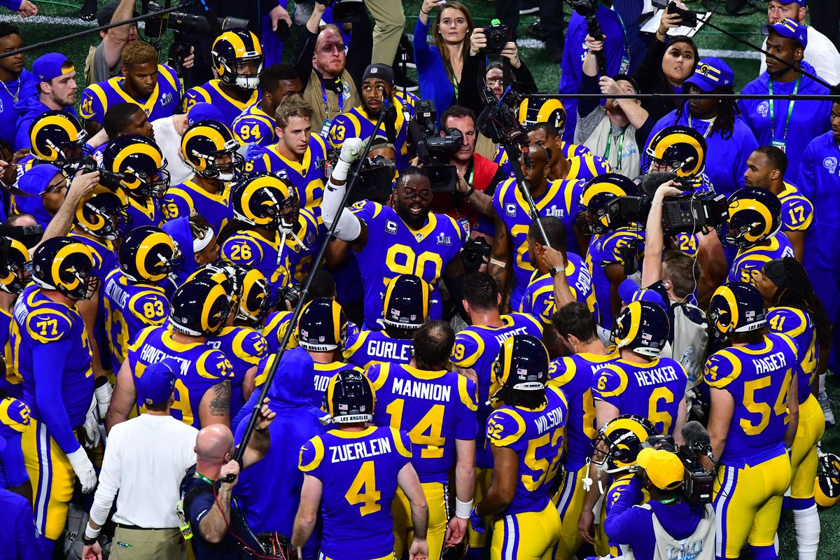 DL Michael Brockers hypes up the Los Angeles Rams prior to Super Bowl LIII against the New England Patriots, Feb. 3, 2019.