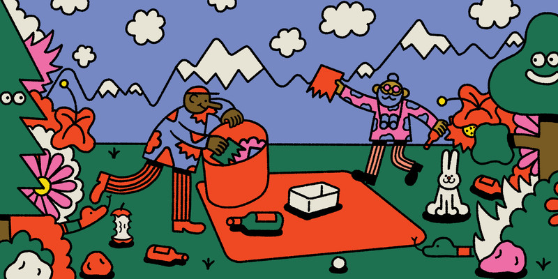 Multiple people are cleaning up at a campsite surrounded by happy smiling trees. In the background are snow capped mountains. This is an illustration.