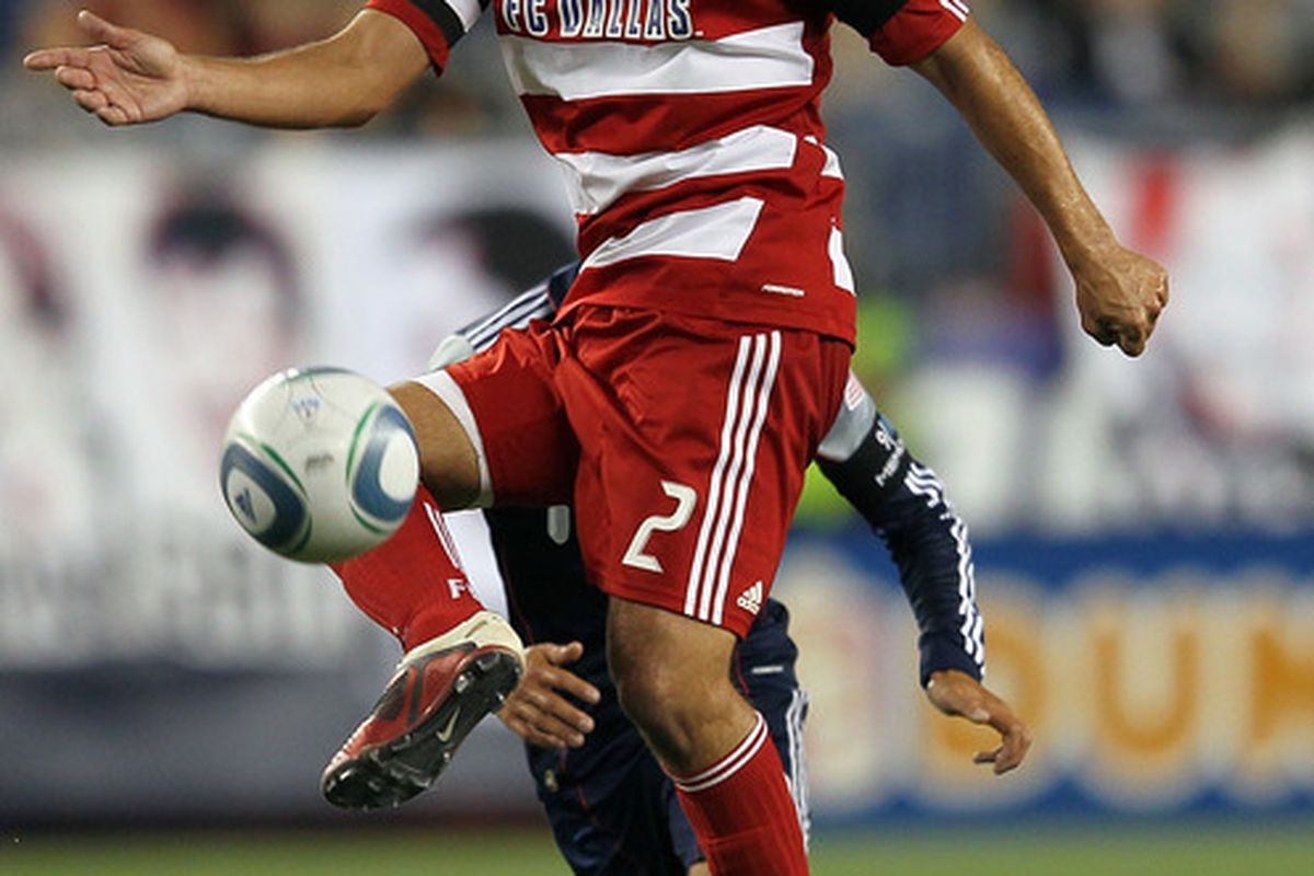 FOXBORO, MA - SEPTEMBER 10:  Daniel Hernandez #2 of the FC Dallas heads to the net against the New England Revolution at Gillette Stadium on September 10, 2011 in Foxboro, Massachusetts. (Photo by Jim Rogash/Getty Images)