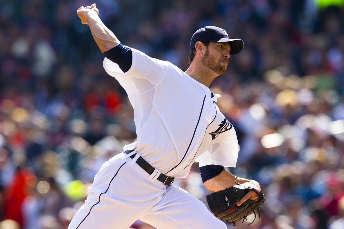 April 7, 2012; Detroit, MI, USA; Detroit Tigers starting pitcher Doug Fister (58) pitches during the first inning against the Boston Red Sox at Comerica Park. Mandatory Credit: Rick Osentoski-US PRESSWIRE