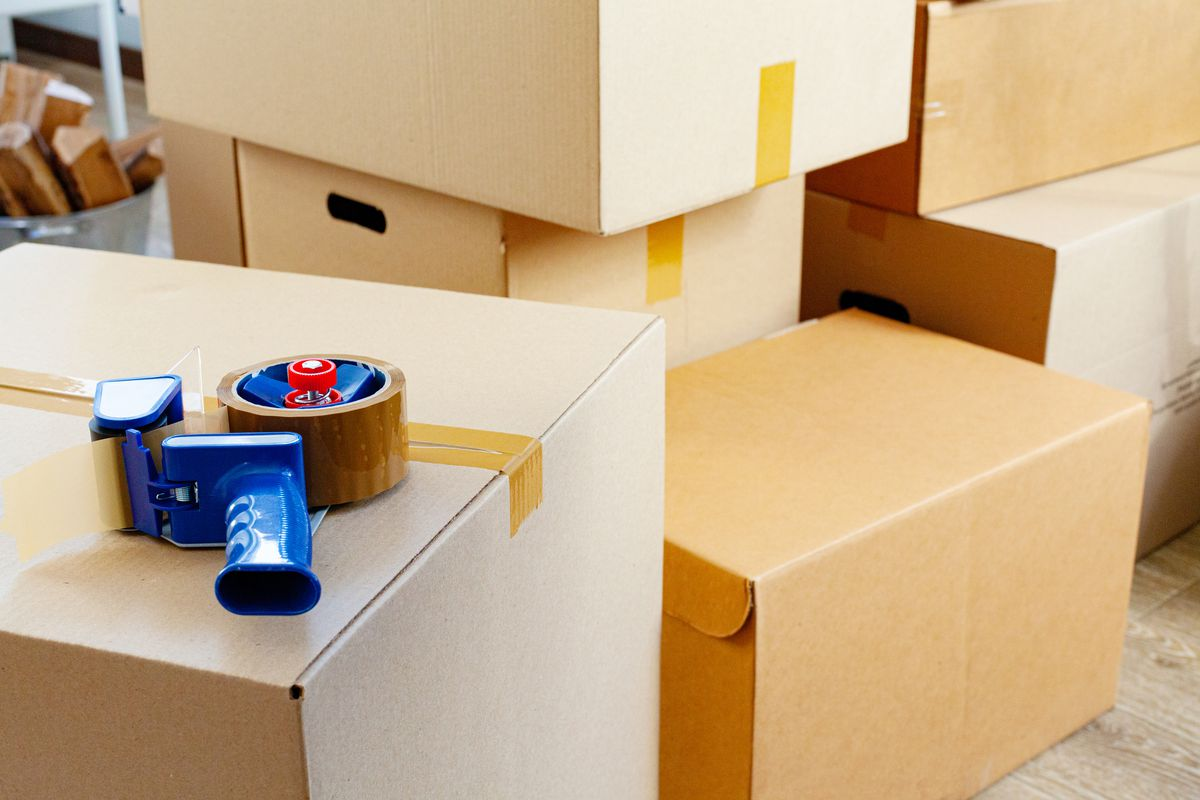 Moving boxes and tape