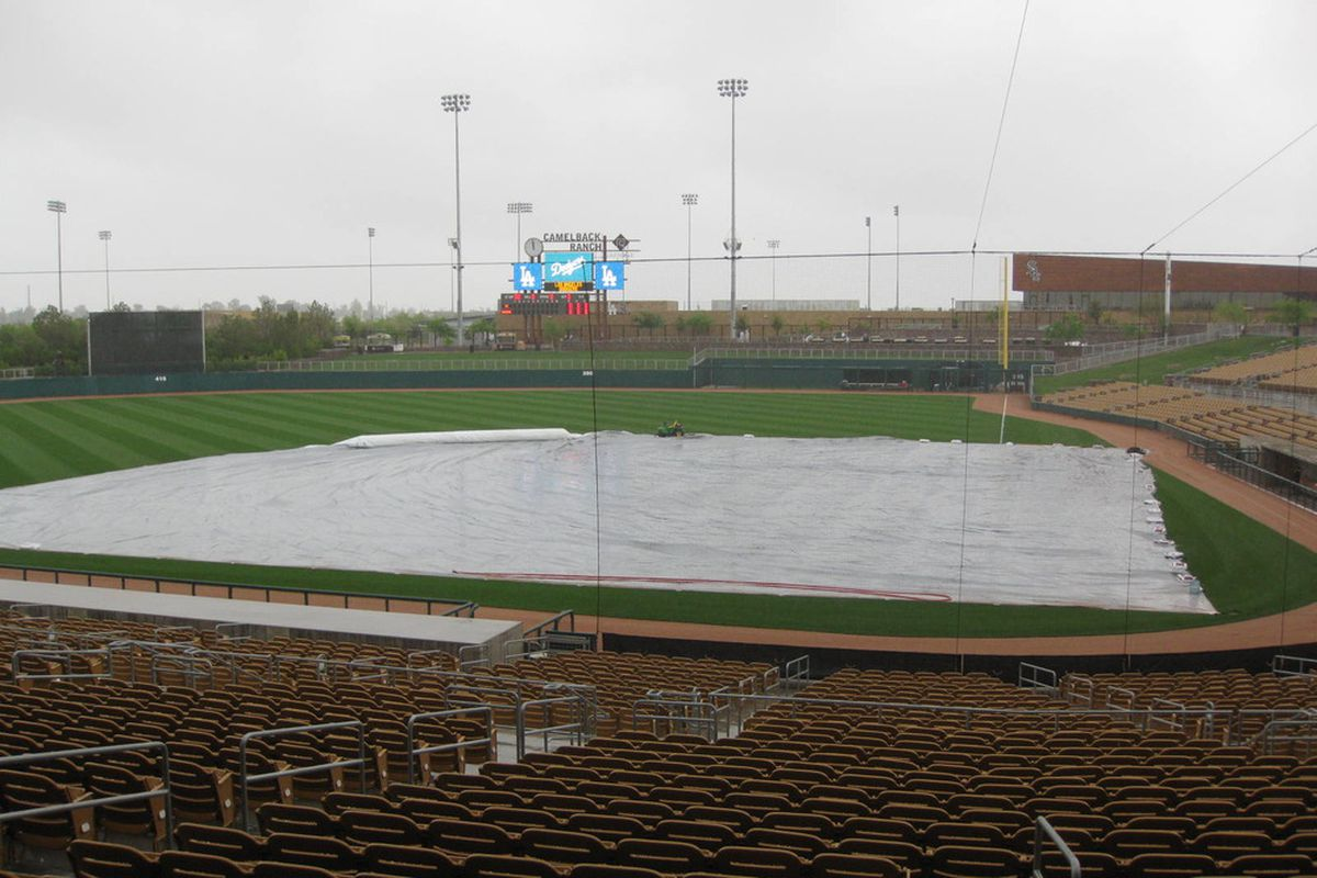 The Dodgers had two games scheduled today, including Clayton Kershaw facing the Oakland A's at Camelback Ranch, but rain has canceled the first game and threatens the other game.