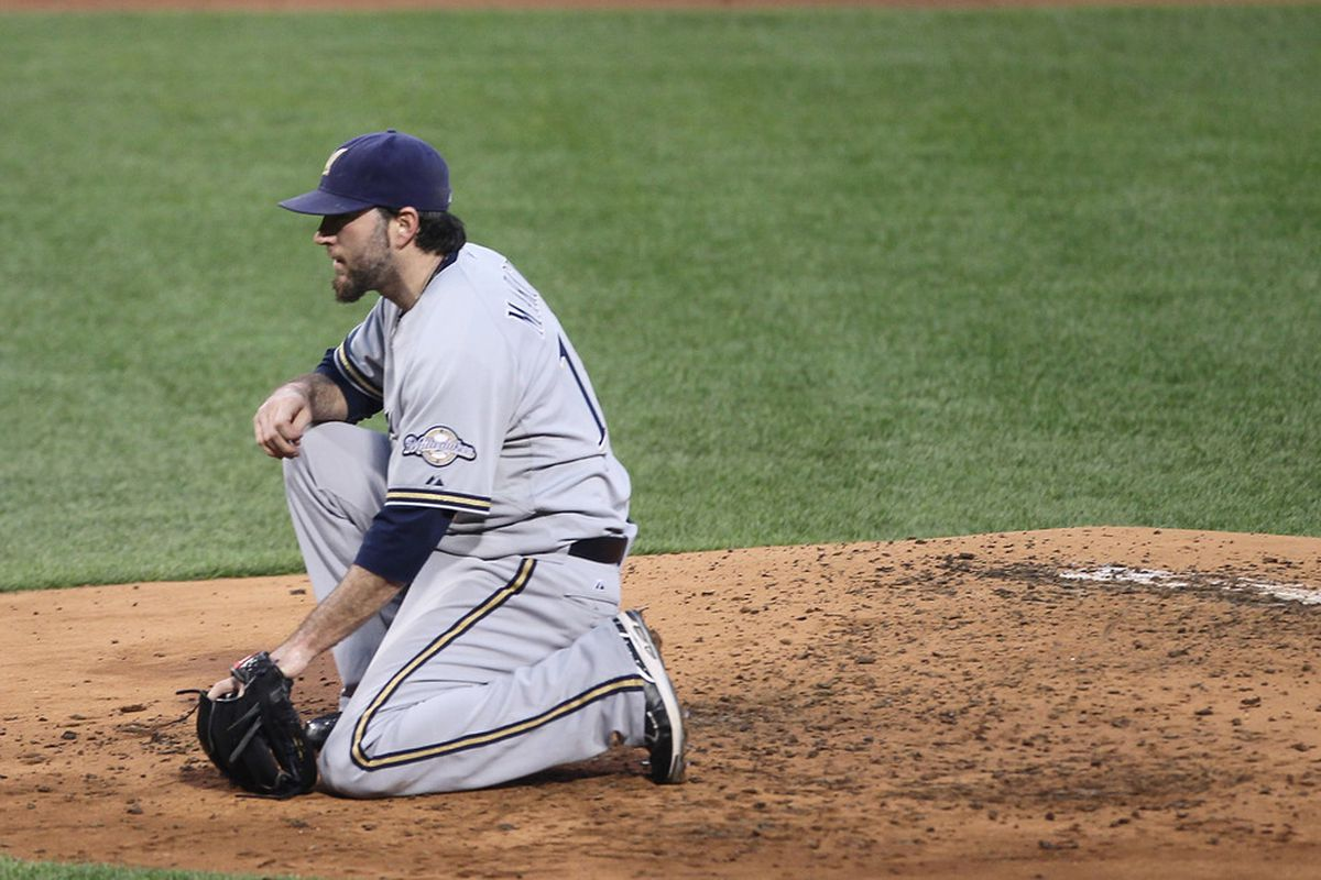 BOSTON, MA  - JUNE 17:  Shaun Marcum #18 of the Milwaukee Brewers takes a breather in the first inning against the Boston Red Sox at Fenway Park on June 17, 2011 in Boston, Massachusetts.  (Photo by Jim Rogash/Getty Images)