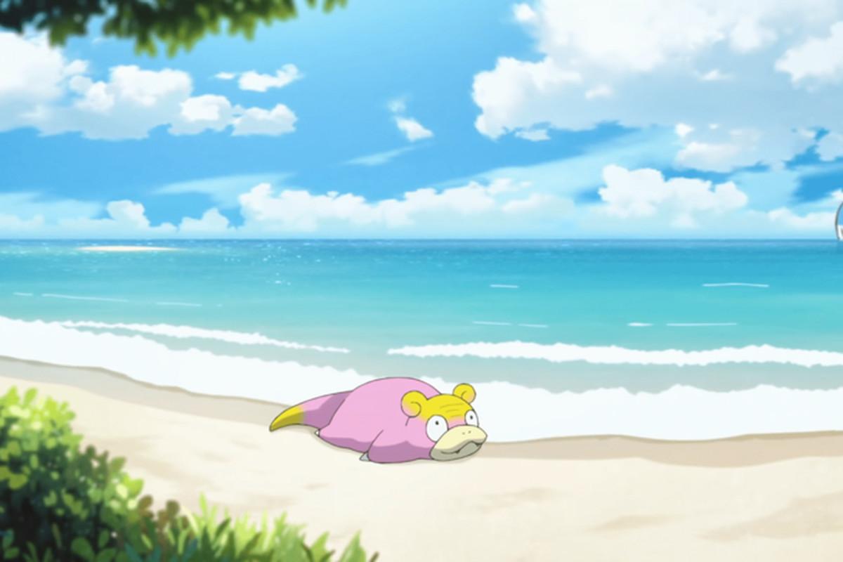 Galarian Slowpoke relaxes on the beach