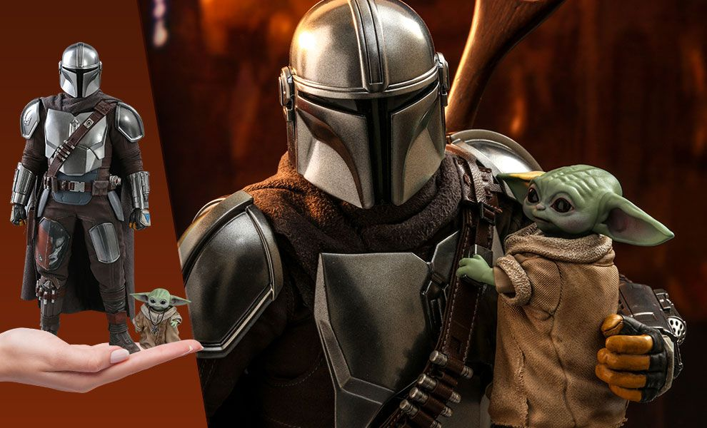 The Mandalorian carrying Baby Yoda in his shiny metal arms, but smaller. An inset image shows them both wresting in the palm of a woman's hand.