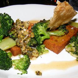"""Broccoli with chickpea panisse, """"pesto"""" chicken skin and chicken jus from Montmartre by <a href=""""http://www.flickr.com/photos/37619222@N04/8578834096/in/pool-eater/"""">The Food Doc</a>"""