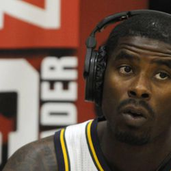 The Jazz's Marvin Williams talks with ESPN Radio during media day at the Zions Bank Basketball Center on Sept. 30.