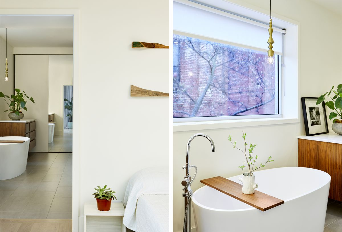 A white bedroom features wood scraps as art; a sculptural tub is by a window in the master bath