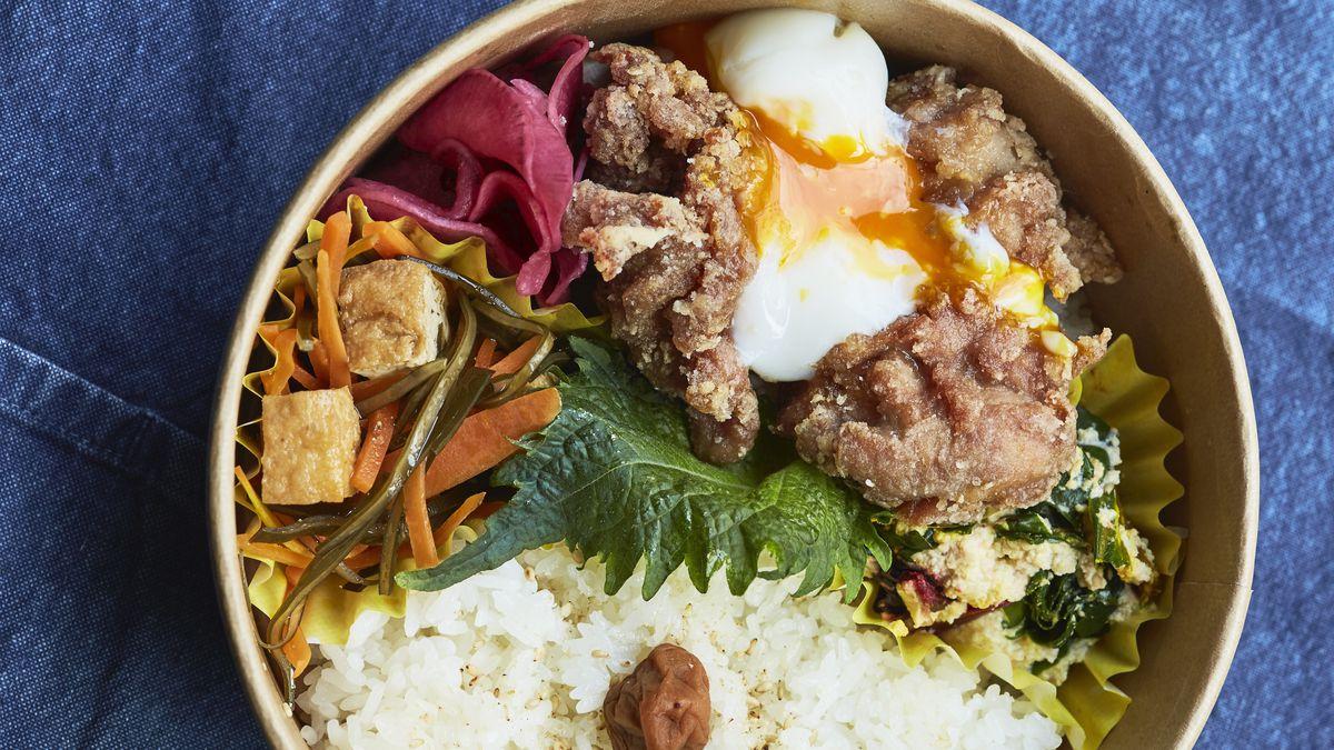 Koya's donburi with chicken kara-age and pickles