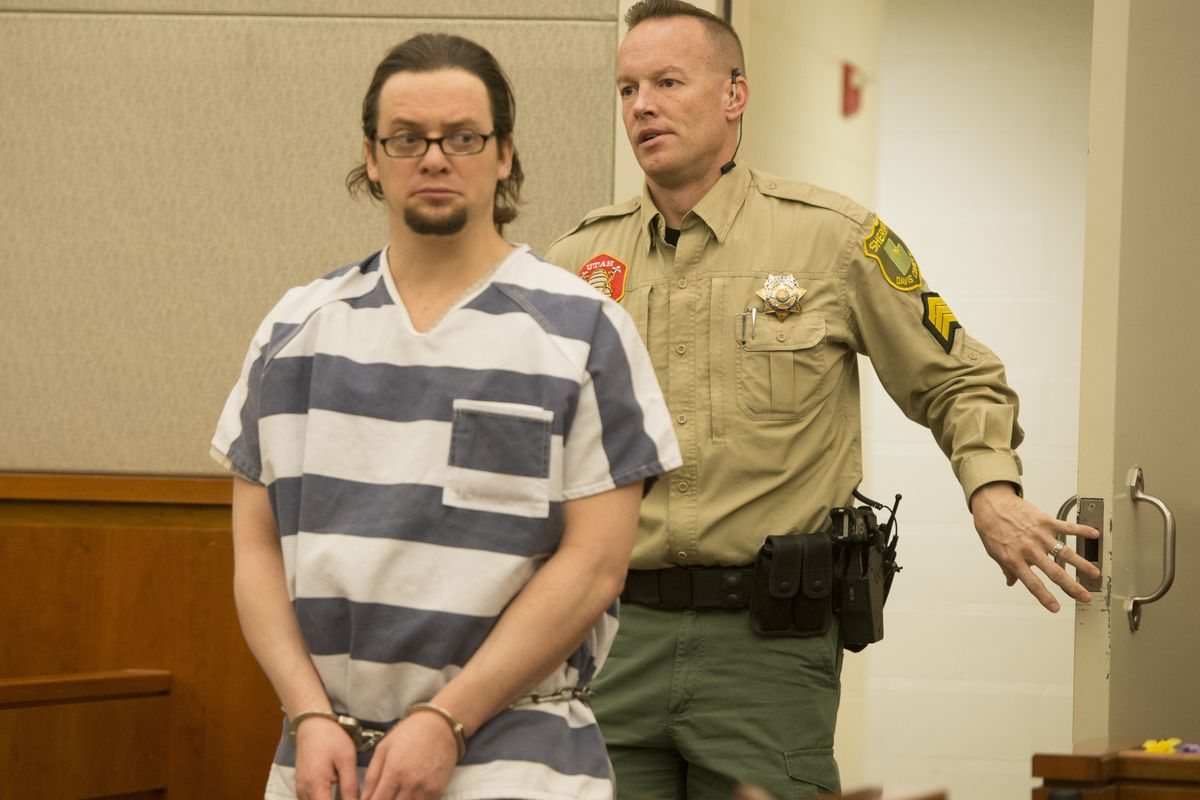 Joshua Schoenenberger enters the courtroom for a preliminary hearing in Farmington on Thursday, January 7, 2016. Schoenenberger was found guilty of murder in October for fatally beating his girlfriend's 2-year-old son to death.