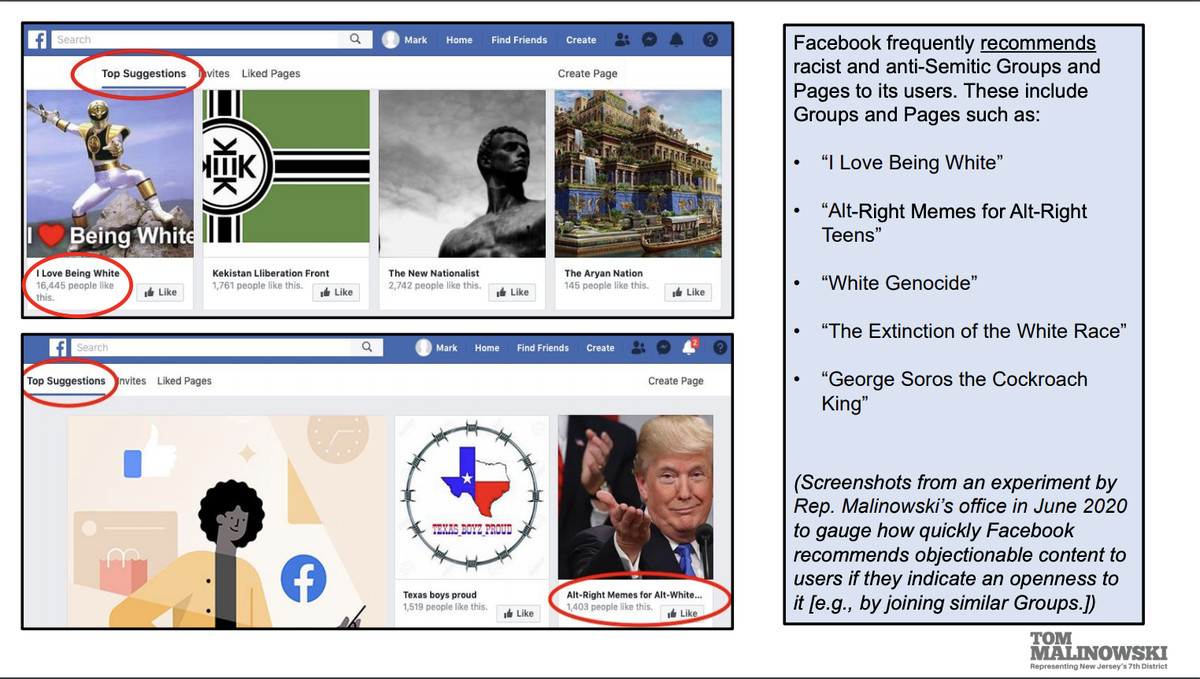A screenshot showing suggested Facebook groups.