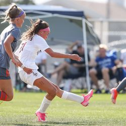 Lone Peak and Skyridge compete in a girls soccer game in Lehi on Thursday, Sept. 9, 2021.