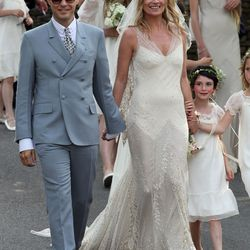 At Kate Moss's July 1st, 2011 wedding to Jamie Hince, the model traded her signature denim and leather for a romantic John Galliano gown.