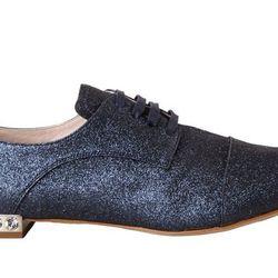 """<b>Miu Miu</b> Glittered Cap Toe Oxford in dark blue, <a href=""""http://www.barneys.com/Miu-Miu-Glittered-Cap-Toe-Oxford/502392255,default,pd.html?q=oxford%20shoe&index=4"""">$650</a> at Barneys"""