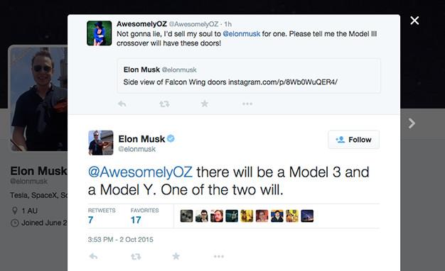 Musk hints at Tesla Model Y on Twitter