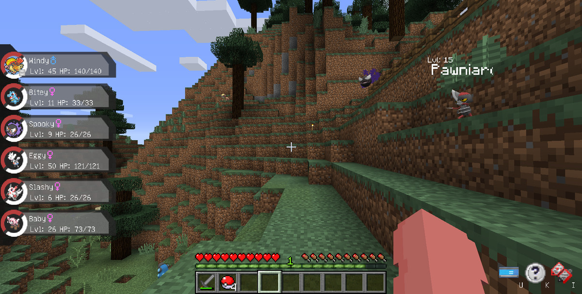 Several Pokémon like Gastly and Pawniard roam around in a Minecraft forest
