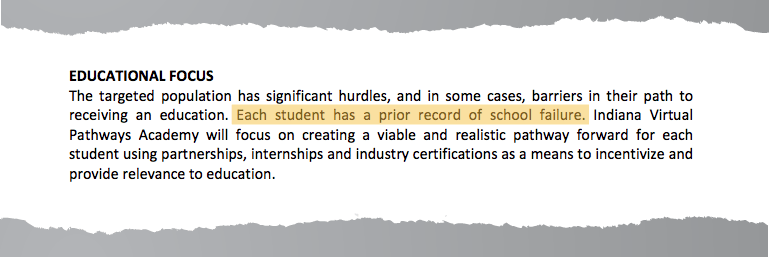 An excerpt from Indiana Virtual Pathways Academy's charter proposal to Daleville Public Schools.