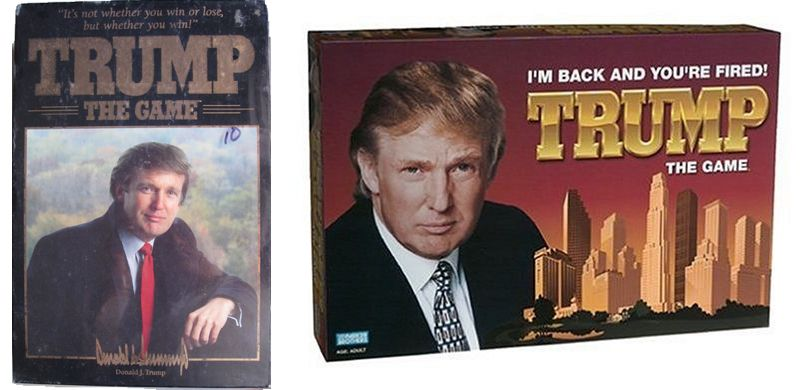 The 1989 and 2004 editions of Trump the Game, featuring different slogans.