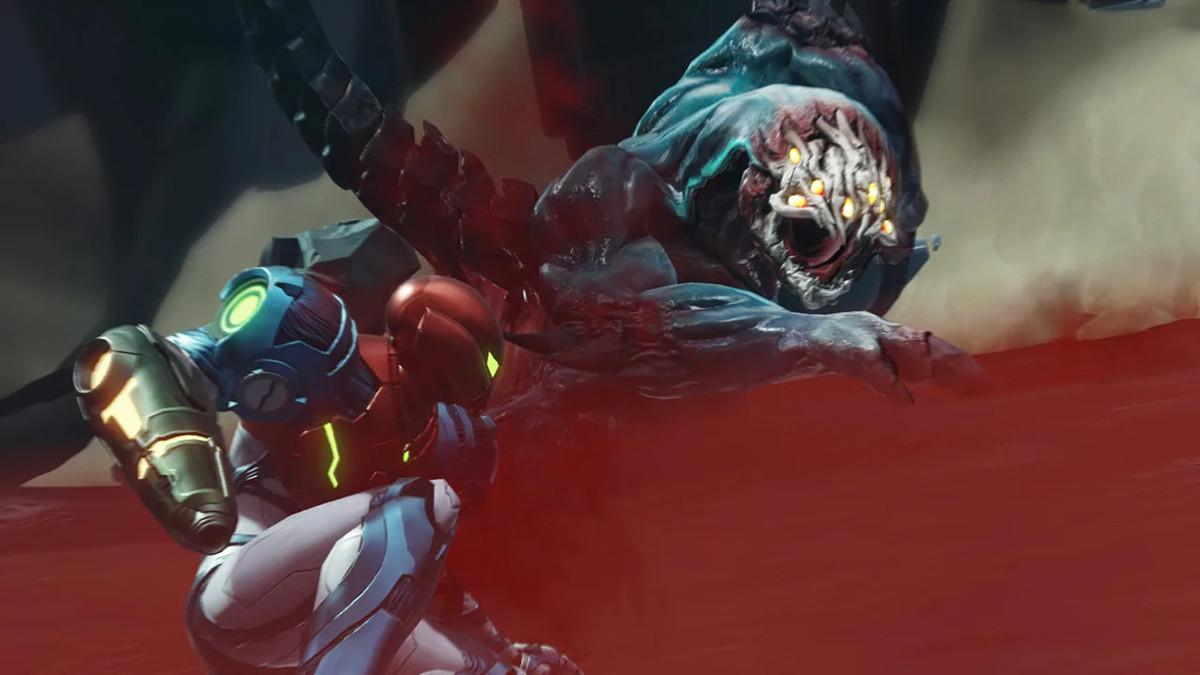 Samus faces off against a boss in Metroid Dread
